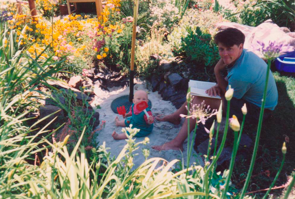 Paul with Leo in his new sandbox.